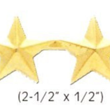 """4 GOLD STAR ARMY MILITARY POLICE GENERAL COLLAR UNIFORM BRASS PINS INSIGNIA EMBLEM 1/2"""" (SOLD AS PAIR!)"""