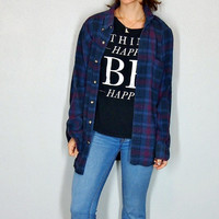 Vintage Flannel, Plaid Button Up 90s Grunge Purple 100% Cotton Comfy Oversize Fall Outift