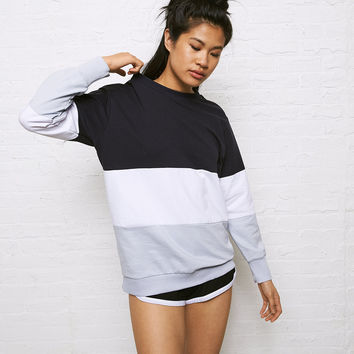 Don't Ask Why Colorblock Boyfriend Sweatshirt, Navy