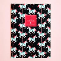 Pony Carousel Illustrated Ruled/Lined Notebook - Large Size - 80 pages by Mery Keem
