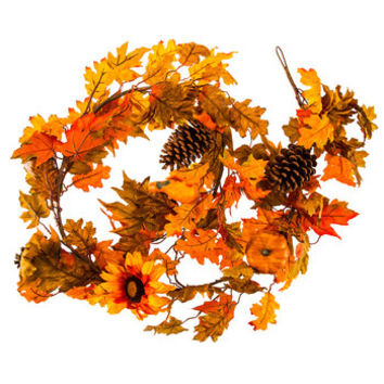 Orange & Gold Glitter Leaf & Berry Garland | Hobby Lobby | 5138532