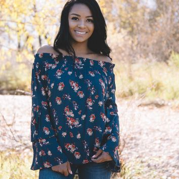 Brace Yourself Floral Top In Navy