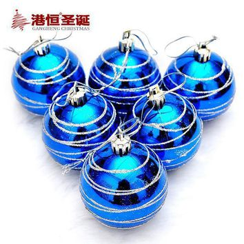 6pcs Christmas Tree Hanging Balls Diameter 6cm Striped Color Drawing Decorations Ball Xmas Home Party Wedding Ornament