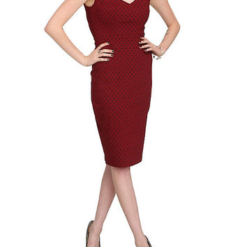 Hell Bunny Burgundy & Black Sandy Pencil Dress