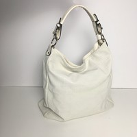 Women's white perforated leather hobo bag