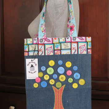 Recycled Denim and Button Tree Applique Tote Bag, Book Bag