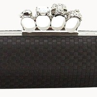 Origin Creation Black Skull Clutch Satin Knuckle Duster Four Ring Evening Bag