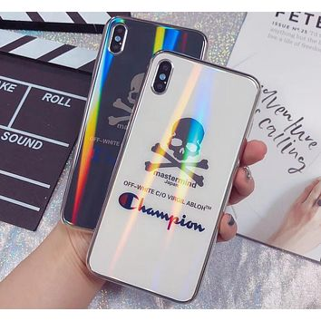 Champion x Mastermind co-branded laser mirror glass iphone6 mobile phone case cover
