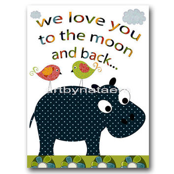 "Art for Children , Kids Wall Art, Baby Boy Room Decor, Nursery print 8"" x 10"" Print,hippopotamus,birds,red,yellow,home,blue,collage"