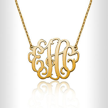 "Personalized Gold 14K Fill 1.2"" Gold Monogram Necklace Custom Made Initials Monogrammed Necklace  Monogram Name Jewelry,nameplate,name plate"