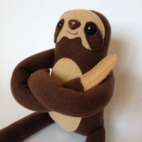 Three Toed Sloth Plush Toy - Brown