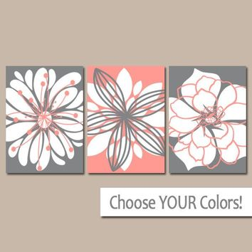 CORAL GRAY Wall Art, Canvas or Prints, Floral Bathroom Decor, Floral Bedroom Pictures, Flower Wall Art, Flower Bedroom Decor, Set of 3