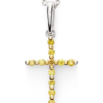 Women's Bony Levy Yellow Diamond Cross Pendant Necklace (Limited Edition) (Nordstrom Exclusive)