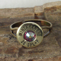 Bullet Ring - Winchester 38 SPL -  Red AB Crystal