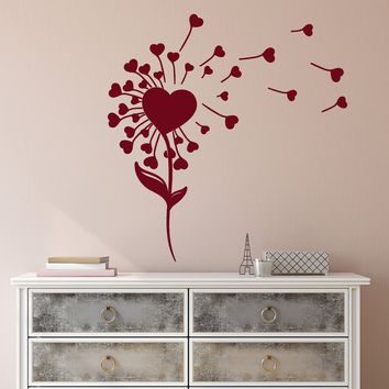 Vinyl Wall Decal Love Flower Hearts Romance Dandelion Plant Stickers (2150ig)