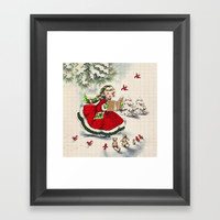 Vintage Christmas Girl Framed Art Print by digitaleffects