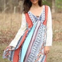 Kori America Printed Dress with Lace Bell Sleeves