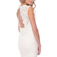 Marie Lace Keyhole Dress in Off White :: tobi
