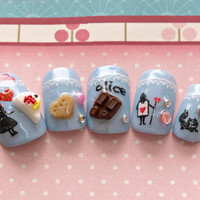 Kawaii nails, 3D nails, sweet lolita, alice in wonderland, cosplay, aqua blue, fake sweets nail art