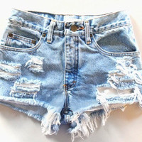 Highwaisted Distressed Cutoff Shorts
