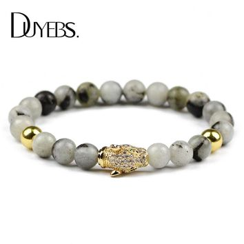 DUYEBS Charms Mens Bracelets Bangle Pave CZ Leopard 8mm Labradorite Spectrolite Natural Stone Beads Fashion Jewelry friends Gift