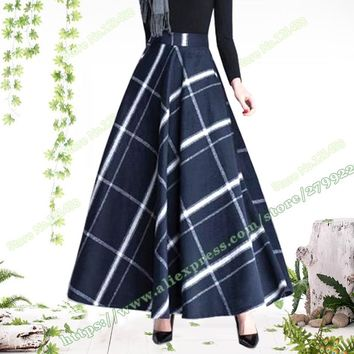 2017 Plus Size 5XL XXXXXL Autumn and Winter Fashion Vintage High Waist Woolen Plaid a-line female Long Maxi skirts womens