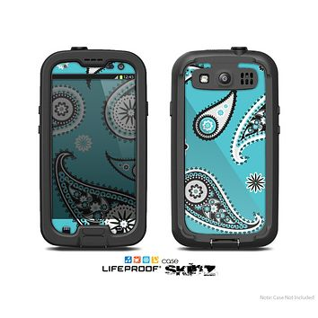 The Vivid Blue & Black Paisley Design Skin For The Samsung Galaxy S3 LifeProof Case