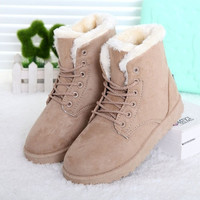 Fashion Winter Women Flat Lace-Up Warm Snow Ankle Boots Beige