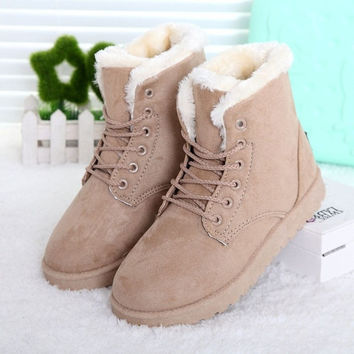 a10ab82400 Fashion Winter Women Flat Lace-Up Warm Snow Ankle Boots Beige