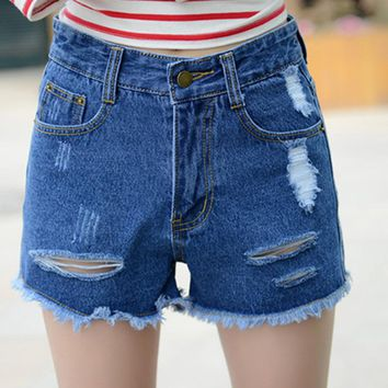 KL1042 New fashion preppy style women jeans summer high waist denim shorts casual female hole trouser plus size