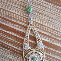 Belly Button Ring - Body Jewelry - Gold and Rhinestone Tear Drop Charm with Light Green Gem Stone Belly Button Ring