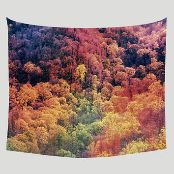 Autumn Leaves Wall Tapestry, Surreal Wall Art, Fall Colors, Psychadelic Tapestry, Forest Nature Tapestry, Autumn Decor, Rainbow Tapestries