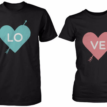 Cute His and Her Matching Shirts LOVE Arrow Struck Hearts Couples T-shirts Men Women 100% Cotton Top Tees Custom Logo Size