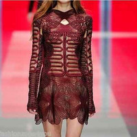 Runway Luxury dress women lace embroidery long sleeve Cocktail Party Burgundy S-XXL