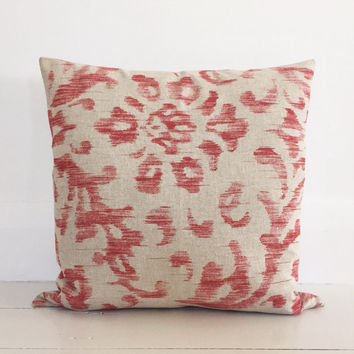 FREE SHIPPING Australia wide - Antique red ikat designer cushion cover - natural linen cushion 50 x 50 cm