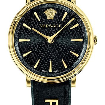 Versace Women's 'MANIFESTO EDITION' Swiss Quartz Gold-Tone and Leather Casual Watch, Color:Black (Model: VBP040017)