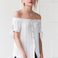 BDG Tie-Sleeve Off-The-Shoulder Button-Down Top | Urban Outfitters