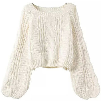 Long Puff Sleeve Cropped Knit Sweater