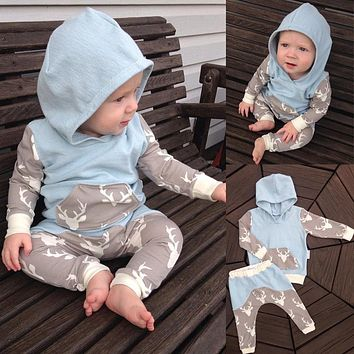 2018 2pcs Toddler Baby Girls Boys Clothes New Cute Animals Cotton Hooded Top Pants Outfits Deer baby Clothing Sets