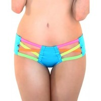Neon Cross Cut Out Booty Shorts
