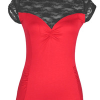 "Women's ""Lace"" Short Sleeve Top by Pinky Pinups (Red/Black)"