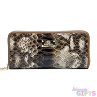 Women's Smooth Genuine Leather Zip-Around Wallet w/ Snakeskin Texture - Coffee Color: Coffee