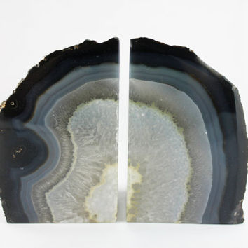 Brazillian Blue Banded Agate with White Core Bookends