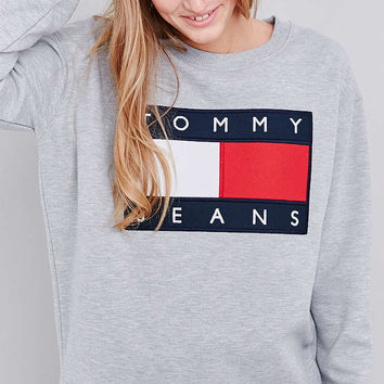 UO Exclusive Tommy Jeans Grey Crew Neck Sweatshirt - Urban Outfitters