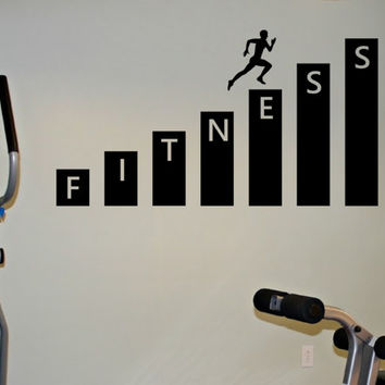 Fitness Gym Wall Decal Vinyl Sticker Art Decor Bedroom Design Mural interior design healthy lifestyle health running run
