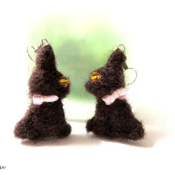 Chocolate bunny earrings, Easter gift for her, surgical steel wires, hypoallergenic earrings, Easter bunny rabbit, needle felted jewelry
