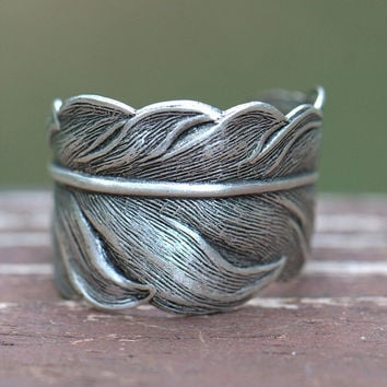 Feather Ring UNISEX, sale. Guidance Angel faith, steampunk, wing sparrow dove victorian bird man mens, spiritual angelic, silver grey gray