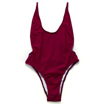(8 color)Fashion wine red low chest show thin one piece vest type bikini  backless