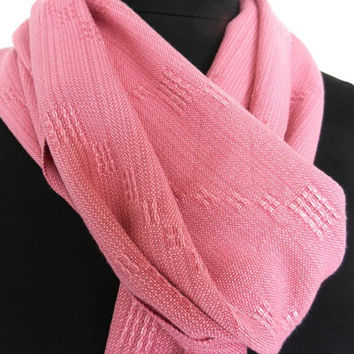 Soft Pink Scarf, Lace Weave Scarf, Handwoven Women's Accessory
