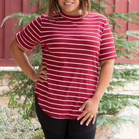 Won't Be Shaken Striped Rubbed Tunic With Roll Tab Sleeves ~ Burgundy ~ Sizes 12-18